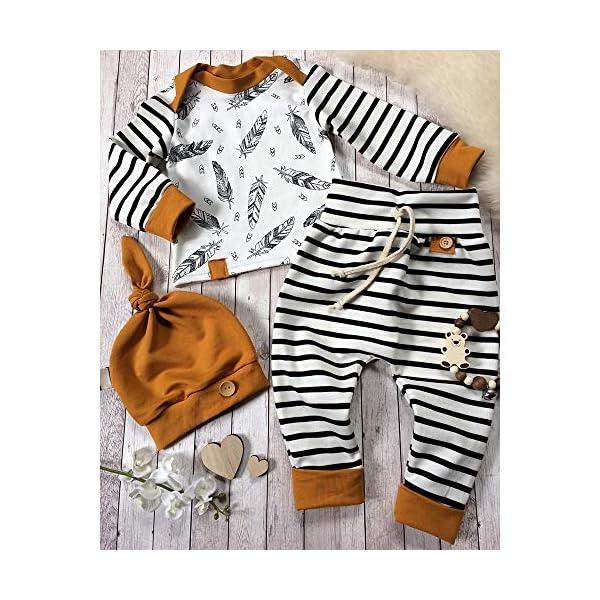 Trisee Ropa Bebe Niño Conjuntos Conjunto de Ropa de Rayas patrón de Plumas Mangas con Capucha Camisetas Recién Nacido… 1
