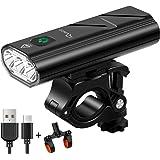 RYACO Fietsverlichting, 2400 Lumen USB Oplaadbare Fiets Koplamp Fietsverlichting voor Mountainbike Licht LED Zaklamp met 4 st