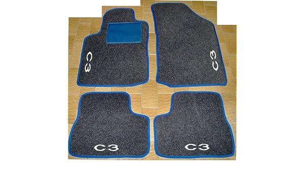 Citroen C3 2002-2010 sur mesure sol tapis de voiture tapis noir mat purple trim