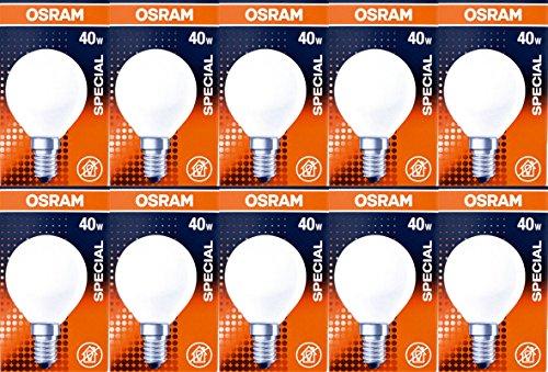 10er Set Osram Special Leuchtmittel Birne 40 Watt 400 Lumen E14 Ofen 2700 Kelvin warmweiß Birne Tropfen dimmbar 300 °C Backofenlampe Glühbirne 10 Stück