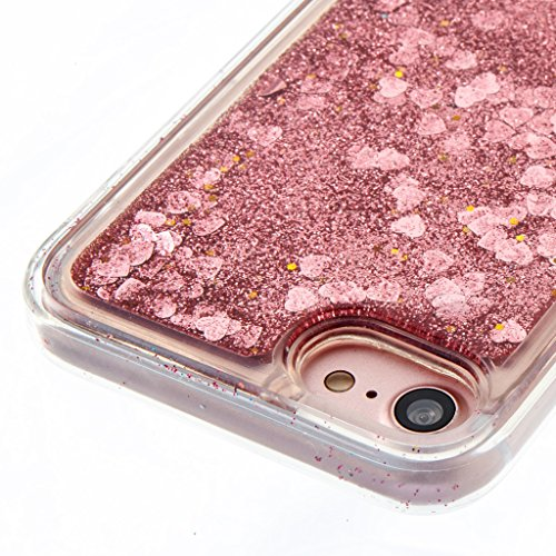 iPhone 6S Hülle,iPhone 6 Glitter Silikon Hülle,Mo-Beauty® Transparent Kreativ Design Bling Glitter Liquid Dynamisch Treibsand Flüssige Fließend Wasser Glitter Glitzer Glanz Sparkle Klar Transparent Ul Rose gold