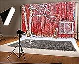 YongFoto 3x2m Vinyl Foto Hintergrund Scheune verwitterte rote Streifen Holz Plank Alter Baumast Grunge Fotografie Hintergrund für Fotoshooting Portraitfotos Party Kinder Hochzeit Fotostudio Requisiten