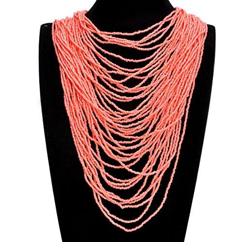 Jerollin Collier Femme Fantaisie Gros Ras de Cou et Bead Multi Ranges Couleur C03