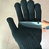 1 pair Wire Safe Anti-Slash Knife Cut Proof Static Stab Resistance Protect Glove (Black)
