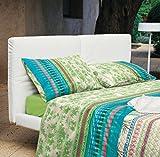 Bassetti Granfoulard.- Completo letto matrimoniale Sorrento V2 blu verde per letto 150 cm (4 pezzi)
