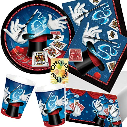 HHO Magic-Party Zauberer-Party-Set 49tlg. 16 Teller 16 Becher 16 Servietten 1 Tischdecke (Magic Party Servietten)