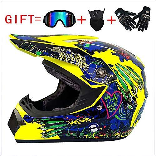 Sunzy Casco de Motocicleta de Motocross, Casco anticolisión de Cuatro Estaciones Desmontable para Hombre y Mujer para Enviar Gafas/máscara/Guantes Certificación Dot (S, M, L, XL),L