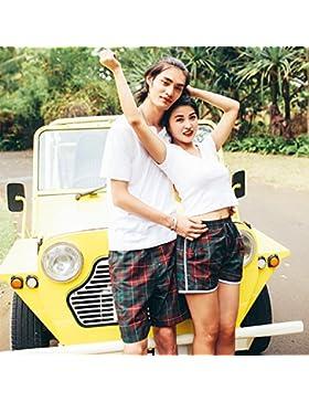HAIYOUVK Beach Pants Men Shorts Female Couple Loose Quick-Drying Beach Hot Spring Resort Home Comfort Shorts,L...