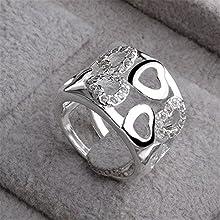 Skyllc® Anillo de diamante brillante de plata de ley adorable Crystal Rhinestone plateado