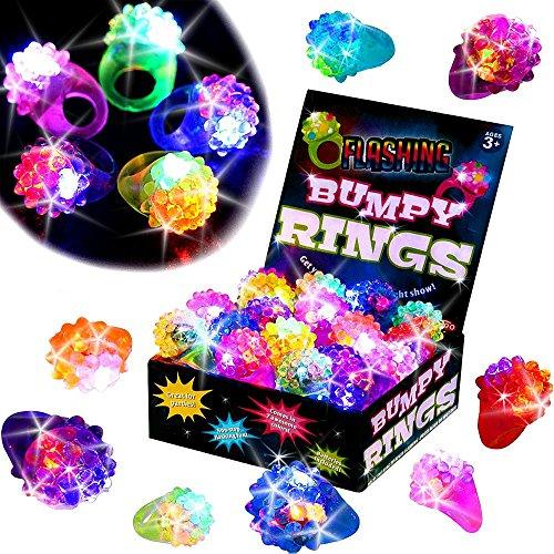 German Trendseller® - 12 x Jelly Leucht Ringe ┃ LED ┃ Blinklicht ┃ Flummi Ringe ┃ Kindergeburtstag ┃ 12 Stück