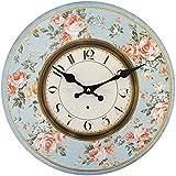 Reloj de pared redondo, bonito, estilo rústico, shabby chic vintage, diseño de flores, color rosa y azul Tamaño: 34 x 34 cm aprox.