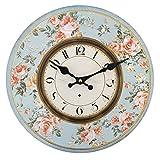 kingofprezzies.com Reloj de Pared Redondo, Bonito, Estilo rústico, Shabby Chic Vintage, diseño de Flores, Color Rosa y Azul Tamaño: 34 x 34 cm Aprox.