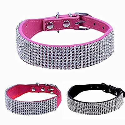 WIDEN Exquisite Pet Necklace Leather Diamante Studded Dog Collar