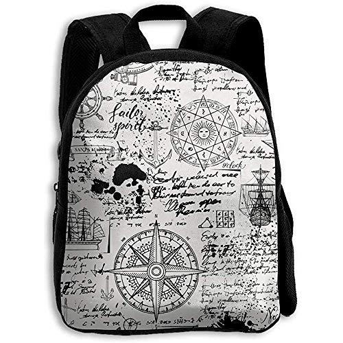 Kinderrucksäcke,Weinlese-Segeln-Manuskript-Rucksack, Hochschultaschen-Schultasche Für Die Erwachsenen, Die Das Reisen Klettern