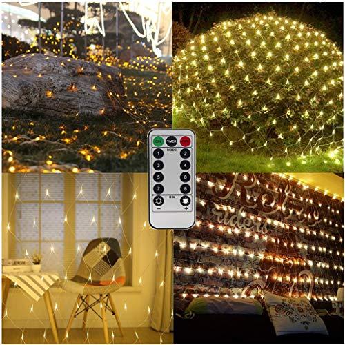 Lichterketten Netz Batterie Netz beleuchtung,1.5m x 1.5m 100 LED-Netz-Baumwickel Lampen Dekorative Lichterketten für Hochzeit Außen Innen Camping Geburtstag-Fernbedienung,8-Modu,Timer,Dimmbar-Warmweiß