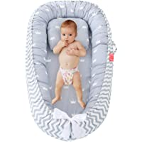 Baby Nest for Newborn and Babies, Baby Lounger Bed, Toddler Sleep pod with Breathable & Hypoallergenic Cotton, Baby Sleep snugly, Newborn Choose for Co-Sleeping (Grey Crown)