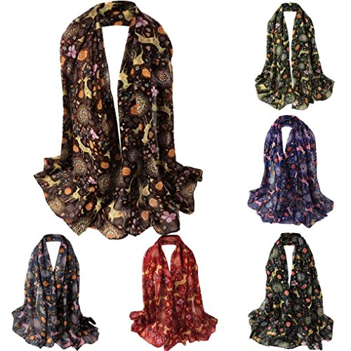 Hirolan Silk scarves women ladies shawls and wraps for women wedding personalised christmas decorations sale clearance novelty vintage christmas dress up Christmas Deer Printing Scarf