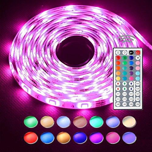 Simfonio Led Streifen Beleuchtung 5M 16.4Ft 150Leds IP65 Wasserdicht 5050 SMD Rgb Led Full Kit mit Fernbedienung 44 Tasten und Netzteil 12V 2A für Heim Dekorative