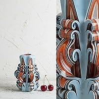 Klein, Weiß und Orange - sanfte Farben - dekorativ geschnitzte Kerze - EveCandles