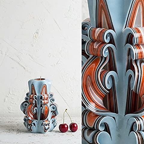 Klein, Weiß und Orange - sanfte Farben - dekorativ geschnitzte Kerze - EveCandles (Versorgung Salz)