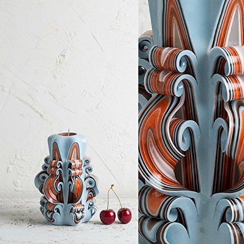Klein, Weiß und Orange - sanfte Farben - dekorativ geschnitzte Kerze - EveCandles (Kerze Säule-platte)