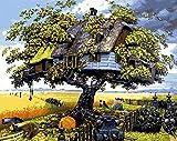 Xilery Ölgemälde für Erwachsene, Kinder, zum Malen nach Zahlen, Heimdekoration, Baumhaus in blauem Himmel, 40,6 x 50,8 cm, canvas, Color 1, With Frame