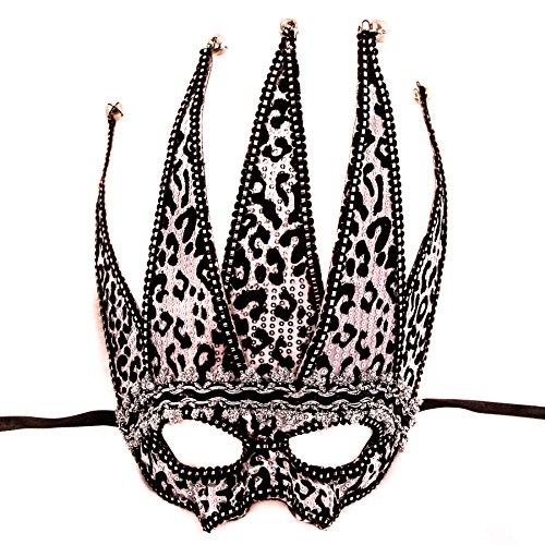 chwarz & Silber Jester Venezianische Augenmaske, party, 30 x 20 cm, satin Krawatte (Schwarz Und Silber Maskerade Masken)