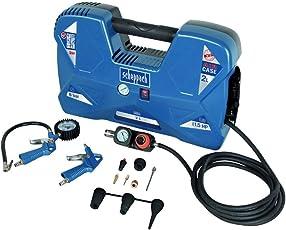 Scheppach Kompressor Air Case (1100W, 2 L, 8 bar, Ansaugleistung 180 L/min, ölfrei, tragbar und mobil) Mini Kompressor mit 12-teiligem Zubehör-Set