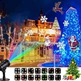 Luces de Proyector con 20 Mover Patrones Cambiables Impermeable Interior Al aire libre Proyector LED Iluminación del paisaje para la Navidad, Cumpleaños, Halloween, Fiesta, Doda, Decoración de Jardín