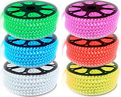 10 Meter 230V LED RGB mehrfarbig Strip Lichtband flexband mit 60x 5050 SMD pro Meter - für innen und Außen Wasserfest mit Fernbedienung