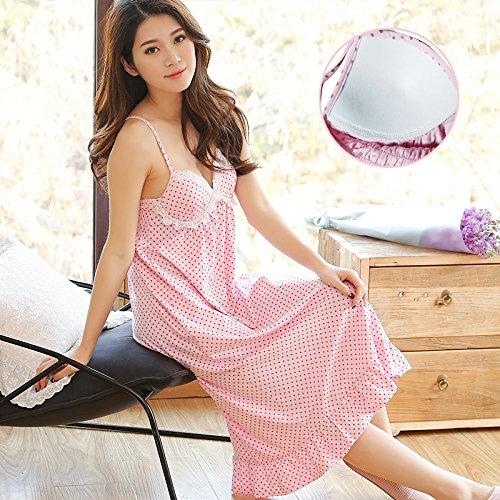 SQDQNUR-donna sexy lingerie di fascette con petto pad camicia da notte estrema tentazione di vestire allentato donna abbigliamento,160(M),in polvere