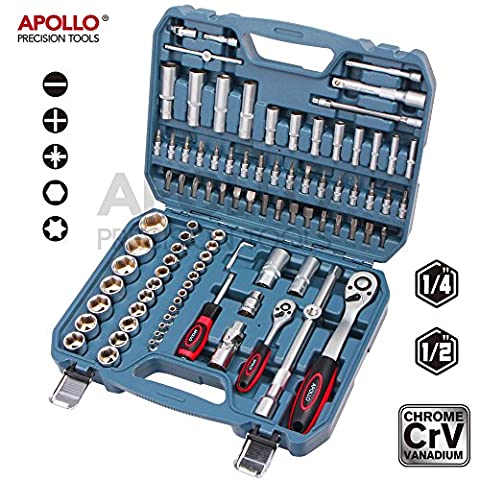Apollo 94 Piece Chrome Vanadium Cr-v Steel Professional 1/4-Inch and 1/2-Inch Drive METRIC Socket Set, Neatly Organised in a Robust Storage
