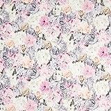Scuba Blumen Weiss — Meterware ab 0,5m — Zum Nähen von