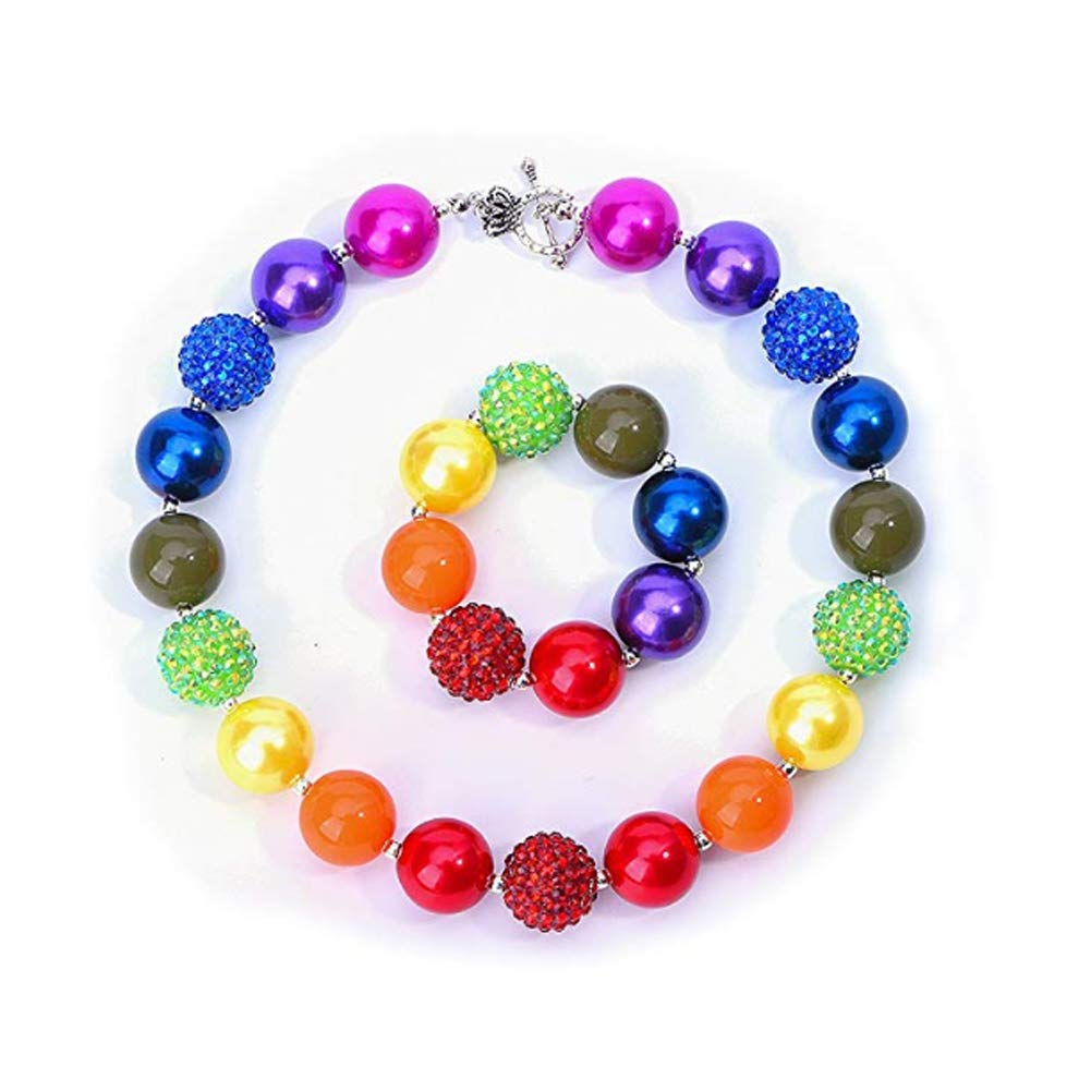 64f85fdf3f 4Ocean Body Jewellery Necklace Rainbow Fashion Beads and Bracelet Set with  Gift Box for Baby Girls