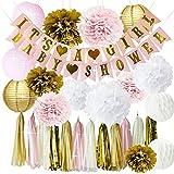 Rosa und Gold Baby Dusche Dekorationen für Mädchen BABY DUSCHE ES IST EIN MÄDCHEN Girlande Bunting Banner Seidenpapier Pom Poms Blumen Papierlaternen Papier Wabenbällchen Seidenpapier Quaste Partydeko