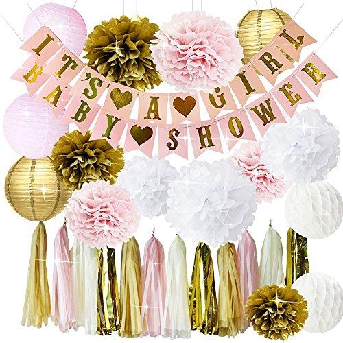 usche Dekorationen für Mädchen BABY DUSCHE ES IST EIN MÄDCHEN Girlande Bunting Banner Seidenpapier Pom Poms Blumen Papierlaternen Papier Wabenbällchen Seidenpapier Quaste Partydeko (Baby-dusche-dekoration Mädchen)