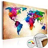 BD XXL murando – Lavagna di sughero 120x80 cm - 1 Parti - Quadro su tela Poster Mappa del mondo quadro con tappo poster mondo Continente Legno k-C-0038-p-a