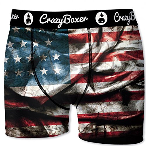 Crazy Boxer Herren Boxershort/Retroshort Fun-Edition, MEGA-Designs (M/5/48, Americans Flag)