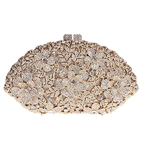 Bonjanvye Glitter Flower Ladies Hand Bags Evening Party Purses for Girl's Evening Bags Gold