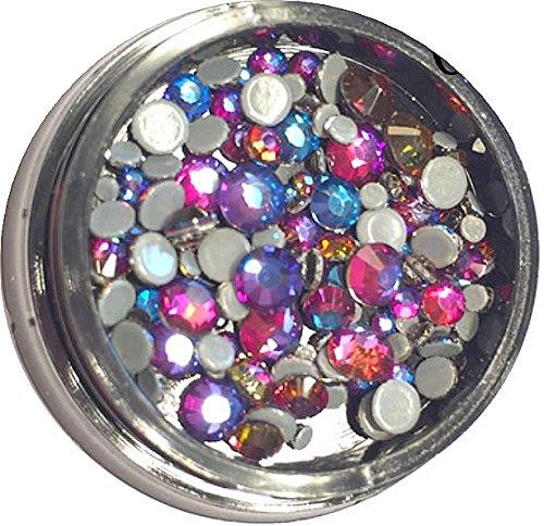 50 Diamant Einleger/ Overlays in Dose. 9 Größen. Farbauswahl. Strasssteine (Lumi 02)