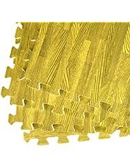 Sabar ASAB Lot de 4dalles de tapis en EVA de 8mm d'épaisseur, format large 60cm x 60cm 1,5m² Revêtement réversible de sol extérieur/intérieur avec verrouillage pour aire de jeu, salle de gym et exercices de yoga