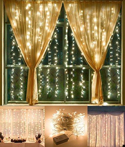 Vorhänge beleuchtet KingTop Lichterkette 3m * 3M 304LEDs 8Modi Licht-Vorhang Icicle für Dekoration Innen, Außen, Schlafzimmer, Hochzeit, Weihnachten, Abend, Party [Energieeffizienzklasse A +] Warmweiß