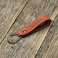 Naranja llavero de cuero, anilla personalizada, llavero con monograma, llavero leontina soporte con grabado personalizado, regalo masculino, Latitud Longitud GPS