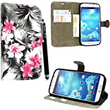 Kamal Star® Samsung Galaxy S4 mini i9190 Pink Flower Dark Grey Book PU Leather Cuero con Tarjeta de Crédito Slots Funda Wallet Carcasa Cover + Stylus
