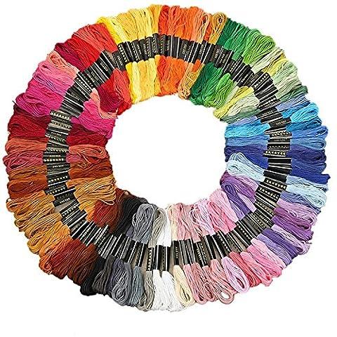 Fils à Broder, Wartoon Multicolores Polyester-coton Fils à Broderie pour Point de Croix ( 100 couleur, 100 échevettes )