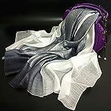Scialle sciarpa Wrap scialli colleghe donna moda sciarpe splendidi colori testa morbida sciarpe di seta Transition-Colored lana foulard di seta lana Seta lungo, due in grigio monocromatico ,90*180