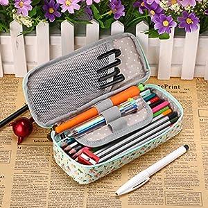 Étui de rangement pour crayons multifonctions BTSKY, étanche, avec motif floral et fermeture éclair; peut être utilisé comme matériel scolaire ou pochette de maquillage