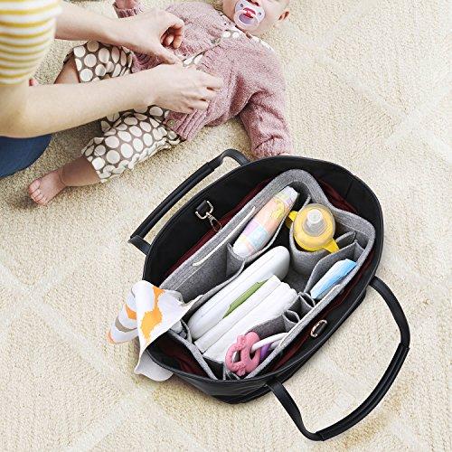 Foregoer Medium Felt Handbag Bag Organiser with Handles - Grey