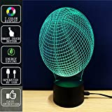 Baloncesto Lámpara de mesa 3D Night Light Touch, Lámpara de mesa Fipart 7 Color Phantom Ambiance, Con Base Acrílica Y Luces LED Inteligentes Decorativas,Modo USB y alimentado por batería
