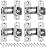 KingYH 4 Pack Door Latch Gate 90 Degree Right Angle Door Latch Buckles Stainless Steel-Right Angle Flip Latch with Screws for